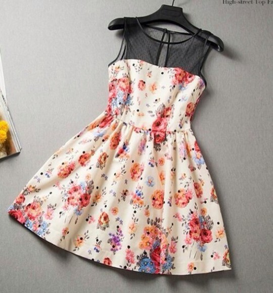printed dress floral cream