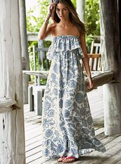 dress,strepless,blue,white,maxi,summer,fashion,style,pattern,strapless,maxi dress,hot,tropical,clothes,rose wholesale-jan