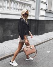 jacket,black jacket,sneakers,handbag,mini skirt,ruffle dress,sunglasses