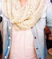 scarf,crochet,infinity scarf,cute,white,cream,pretty,infinity,knit