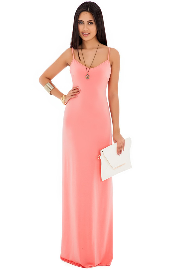 dress maxi dress strappy coral black red summer