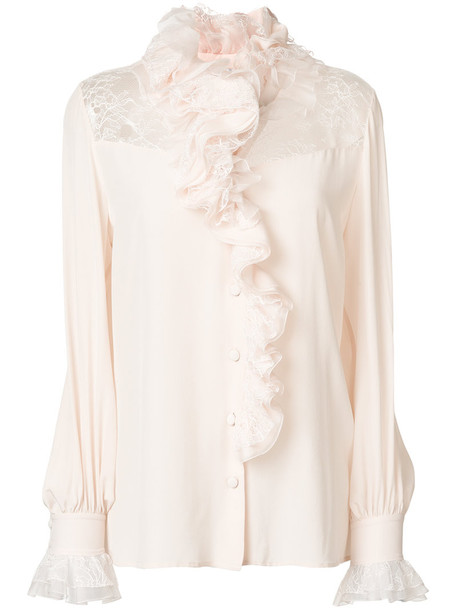 blouse ruffle women nude silk top