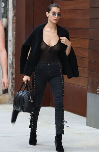 top see through bella hadid model off-duty all black everything pants boots sunglasses lace up lace up pants celebrity celebrity style celebstyle for less girly cute