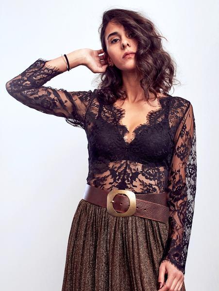 Lace Bodysuit - Black