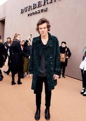 coat,harry styles,one direction,green suede,overcoat