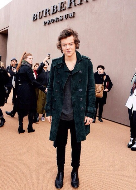 coat harry styles one direction green suede overcoat