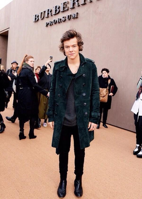 coat harry styles one direction green suede overcoat