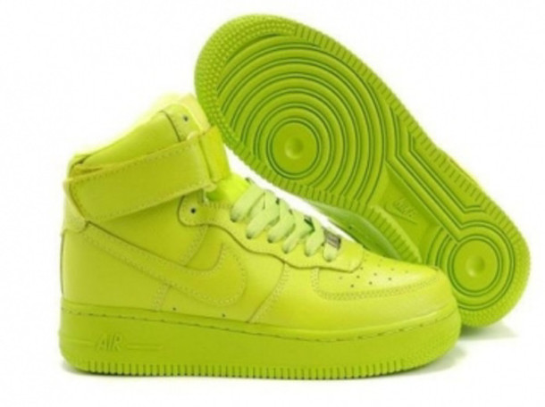 shoes, neon green air force 1s, green