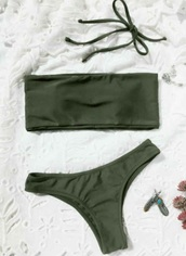 swimwear,olive green,girly,army green,bikini,bikini top,bikini bottoms,bandeau bikini