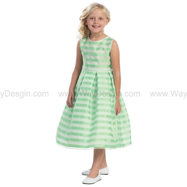 lime stripe organza box pleat dress flower girl dress flower girl dress 2014 dress