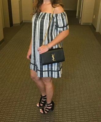 dress mini dress off the shoulder dress stripes black and white