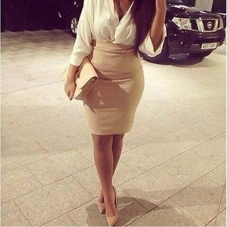 blouse white blouse skirt nude skirt nude dress nude bag nude bag high heels stilettos nude high heels