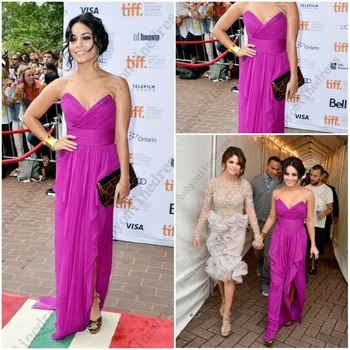 Free shipping!! Pretty Vanessa Hudgens Fuchsia Pink chiffon floor length prom dresses Celebrity dresses 2013 summer VH001-in Celebrity-Inspired Dresses from Apparel & Accessories on Aliexpress.com | Alibaba Group