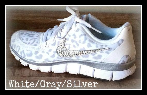 Women's Nike Free 5.0 v4 White/Wolf Gray/Metallic Silver with Swarovski crystal details