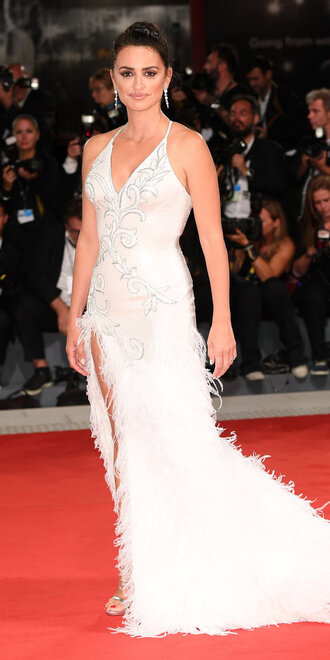 dress gown prom dress red carpet dress penelope cruz slit dress feathers long dress