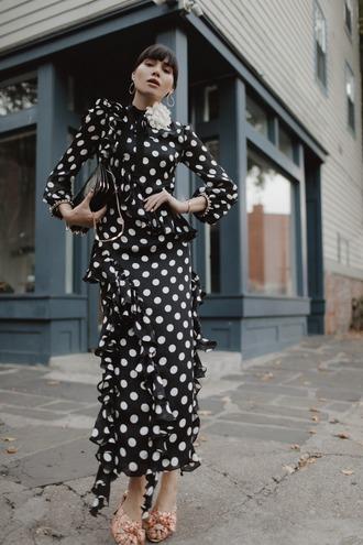 natalie off duty blogger dress jewels bag polka dots gown black and white dress polka dots dress gucci