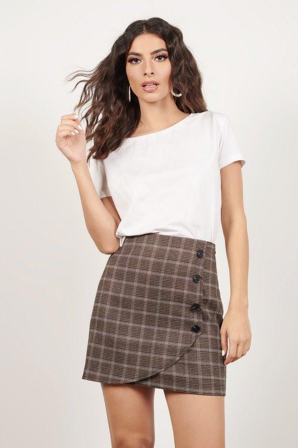 No Guidance Plaid Skirt