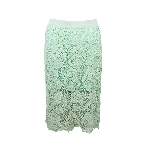 Lace Pencil Skirt With See Through Hem