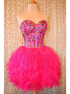 Buy Amazing Lovely Ball Gown Sweetheart Mini Prom Dress with Rhinestones       under 200-SinoAnt.com