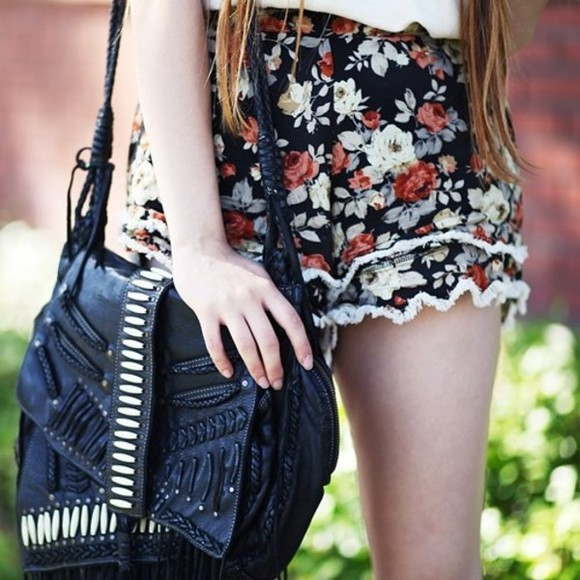 shorts fashion bag floral floral shorts black roses frill tumblr