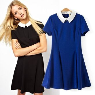 dress it girl shop black royal blue peter pan collar cute dress gothic lolita vintage summer cute top casual dress