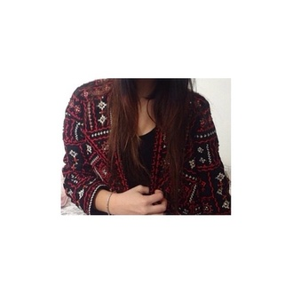 cardigan coat boho bohemian indie tumblr red black black coat red cardigan outfit girly style love dress cool swag hippie gypsy top t-shirt pants shoes boho chic indie boho black cardigan black and red cardigan and skirt burgundy tank top
