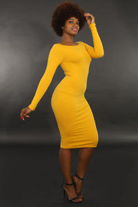 Popular Ladies Women Casual Long Sleeve MIDI Bodycon Stretch Dress Giti Online | eBay