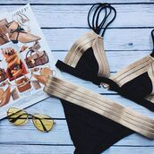 swimwear,black and gold,green and gold,olive green,gold,black,green,stripes,striped swimwear,metallic,metallic bikini,metallic swimwear,caged,caged nikini,sexy,sexy bikini,2018 bikini,summer,summer outfits,beach,2018 beachwear,holidays,workout,summer vacation,chic,tumblr,tumblr swim,moraki,brazilian bikini,sexy swimwear,holiday season,fashion,tumblr swimwear