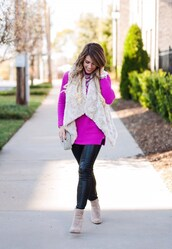 herestheskinny,blogger,sweater,leggings,jacket,shoes,bag,jewels,make-up,faux fur jacket,faux fur vest,purple sweater,ankle boots,leather leggings,white fur vest