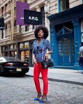 jacket,tumblr,blazer,stripes,striped blazer,blue blazer,bag,black bag,pants,red pants,high heels,heels