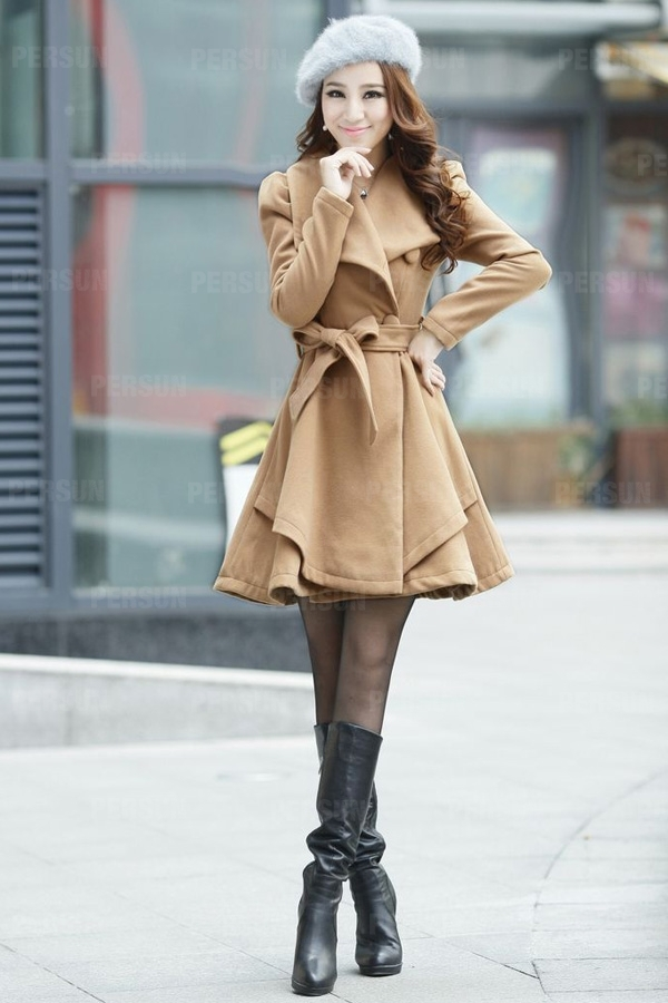 Big Lapel Woolen Coat with Waistband in Khaki [FEBK0616] - PersunMall.com
