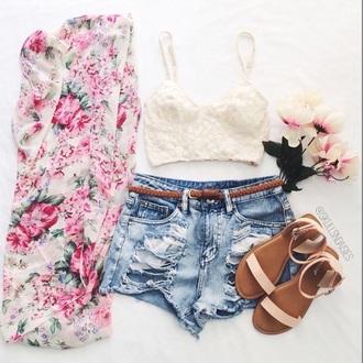 cardigan floral kimono pink white style coat shirt shoes