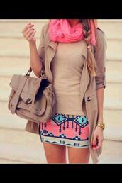 bag,leather bag,aztec,aztec skirt,skirt,jacket