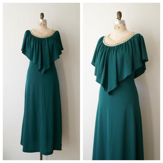 70s Maxi Dress. Vintage Boho Crochet Top by NewOldFashionVintage