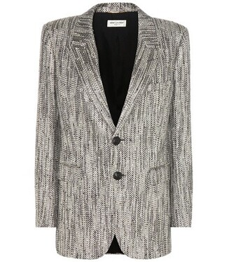 blazer metallic silver jacket