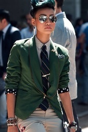 sunglasses,zendaya,green,pants,shirt,jacket,jewels,green blazer,tie,dress,green jacket,olive green,esther quek