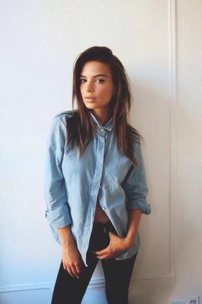 Shirt Blue Shirt Denim Fashion Country Style Tumblr Black Jeans Blouse Blue Pretty
