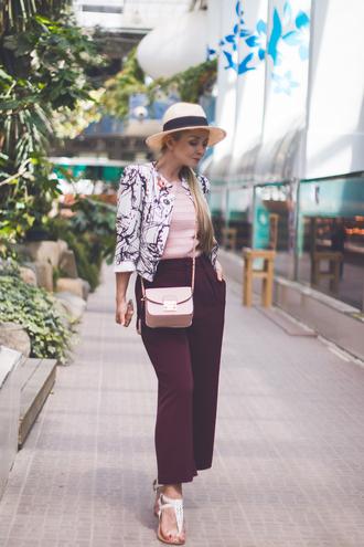 my blonde gal blogger blouse bag pants jacket shoes crossbody bag burgundy pants spring outfits
