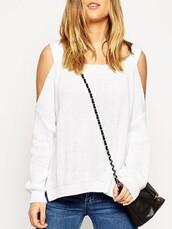 sweater,Choies,long sleeves,side split jumper,cold shoulder
