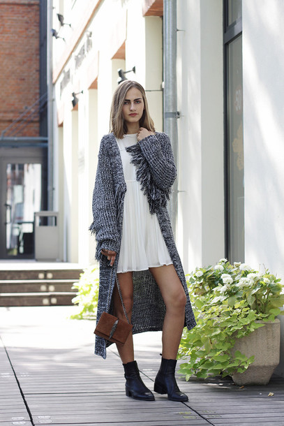 Cardigan: so in carmel, blogger, long cardigan, white dress, mini ...