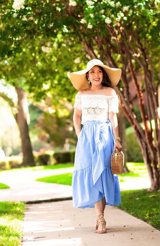 cute & little blogger top skirt shoes jewels bag hat