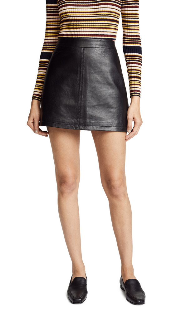 cupcakes and cashmere Marrie Leather A-Line Skirt in black
