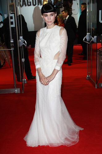 prom dress white dress rooney mara dress