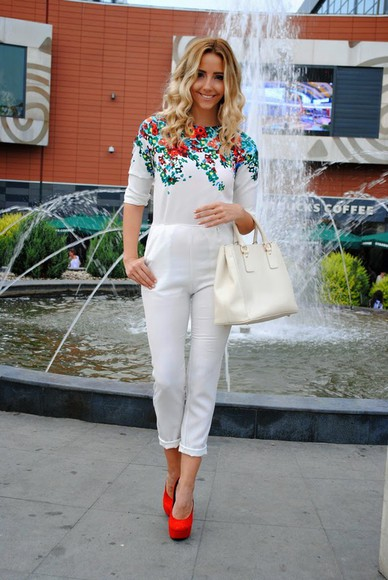 floral white summer outfits let's talk about fashion ! jumpsuit red pumps pumps bag
