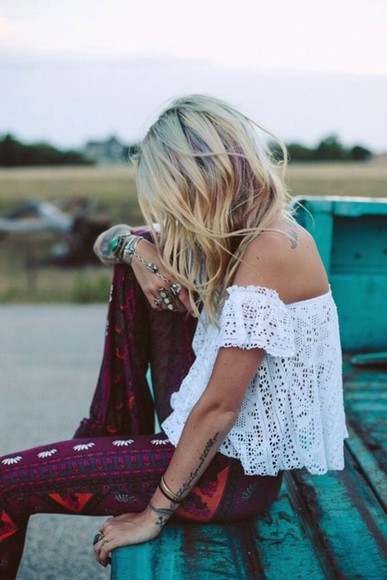 hippie blouse hipster boho blogger summer outfits pants printed pants summer pants off shoulder top
