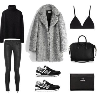 fashion landscape blogger winter outfits grey coat black bag nike sneakers turtleneck