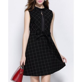 dress zip skater dress plaid cute grunge high neck sleeveless plaid dress