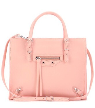 mini zip bag shoulder bag leather pink