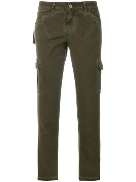 Twin-Set cropped women spandex cotton green pants