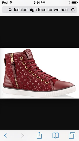 shoes red shoes louis vuitton high tops